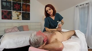 Pensioner enjoys fucking red haired young masseuse Hanna Hayes