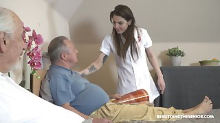 Old vs Young porn wide irresistible nurse Nana Garnet with an increment of three guys