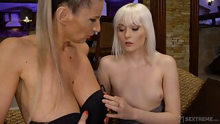 Moistness and lewd mature and girl sexual congress with blonde Conchita
