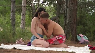 Sex in the forest for a shy looking Russian teen