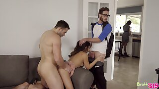 Enticing stepsister Jasmine Gomez is fucked apart from stepbrother and his fellow