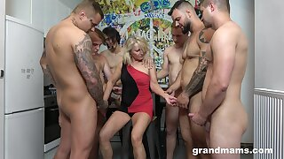 Retired whore Marta goes wild relative to several hot and young dudes