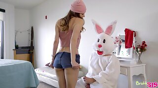 A man dressed in an Easter bunny livery fucks several bad girls