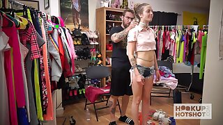 Nice teen with slender multitude Karla Kush is changing their way clothes