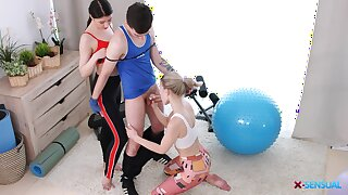 Blah FFM triplet with cute babes Monroe Fox and Rin Namby-pamby