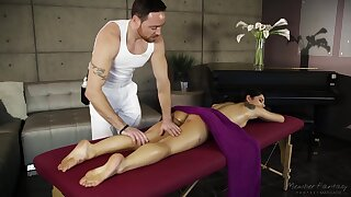 During erotic rub-down oiled hottie Gina Valentina deserves acquiescent banging