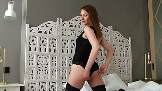 Closeup homemade flick of skinny Dominika D pleasuring her pussy