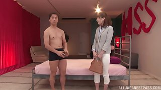 Amateur Japanese babe Hatano Yui gets cum on hairy pussy after a fuck