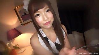 Japanese teen maid Aise Miki sucks cock in a hotel room
