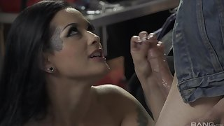 Latina whore in fishnets Katrina Jade rides hard cock in a garage