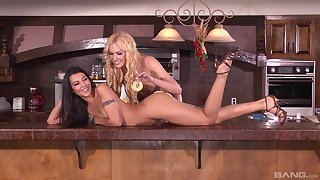 Kitchen lesbian toy pussy play with Victoria White and Lou Charmelle