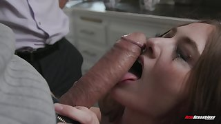 Rough double penetration for blonde MILF Samantha Hayes in the kitchen