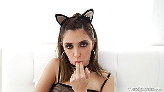 Nasty kitty cat Jane Wilde sprayed with cum after deepthroating cum