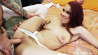 Redhead babe Stacy Sweet fucked missionary style and cream pied
