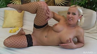 Busty blonde in stockings Antonia Deona gets cum after a hard fuck