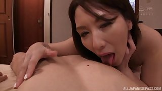 Japanese MILF brunette Shouda Chisato deep throats cock for a cum shot