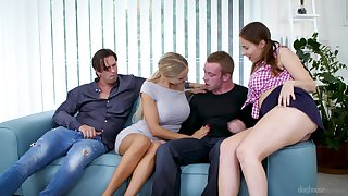 Busty Antonia Sainz and Florane Russell swallow cum in a foursome