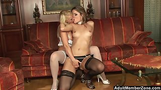 High class MILF lesbians Peaches and Harmony Flame in stockings