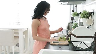 Naked girlfriend Jessica Lincoln is properly banged in the kitchen