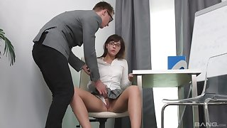 Seductive schoolgirl gets laid with the trainer and loves it