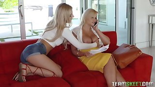 Morose teen Bella Rose is obsessed with her stepmom's juicy boobs and pussy