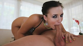 naughty babe Ashli Orion deepthroating porn video