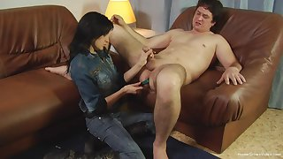 Fat shy dude with reference to a small learn of gets his ass penetrated with reference to a dildo