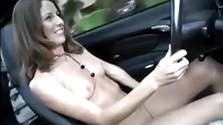 Pretty Young Girls drive naked plus masturbate - public