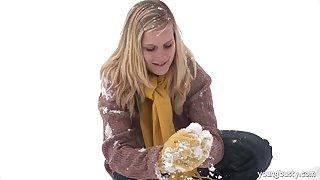 Cute blonde girlfriend drops her panties and gets fucked good
