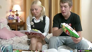Brutal doggy anal pounding is what naughty tow-headed teen Ekaterina wins